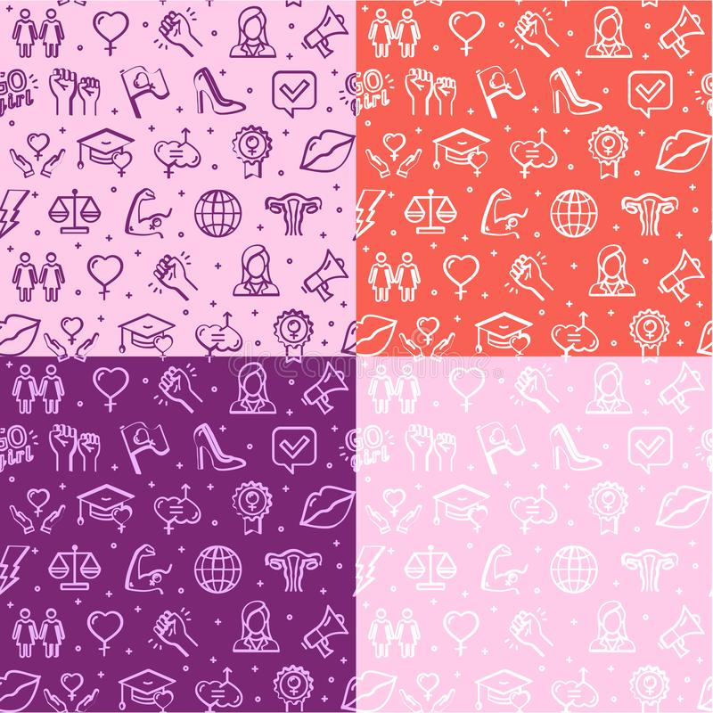 Feminism Signs Seamless Pattern Background Set. Vector royalty free illustration