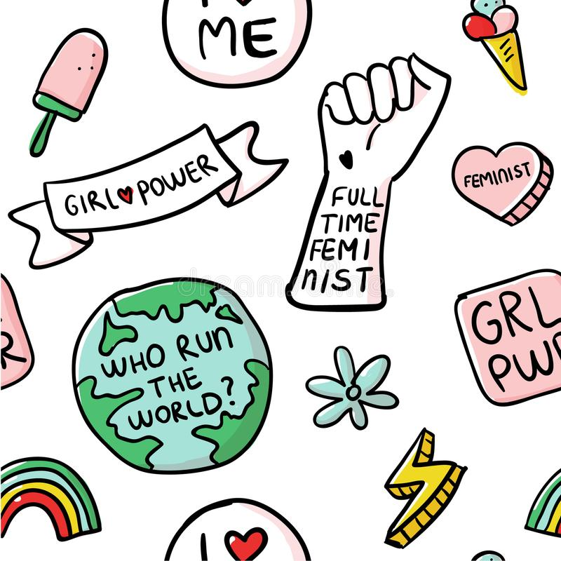 Feminism slogan and patches seamless pattern stock images