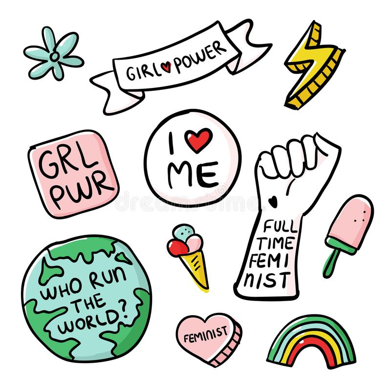 Feminism slogan and patches. Vector 80s style design. Retro pop stickers and badge. Girl power. Full time feminist. I love me. Feminist. Illustrations of pin royalty free illustration