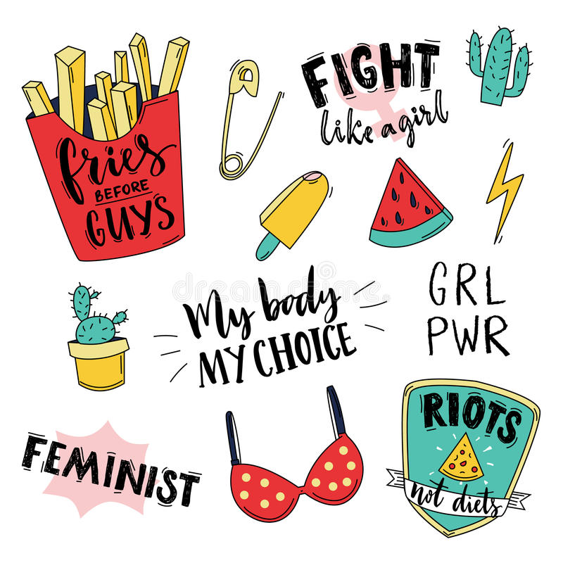 Download Feminism Slogan And Patches. Vector 80s Style Design. Vintage Pop  Stickers And Badges