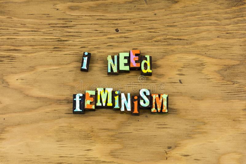 Feminism woman girls support female letterpress royalty free stock photos