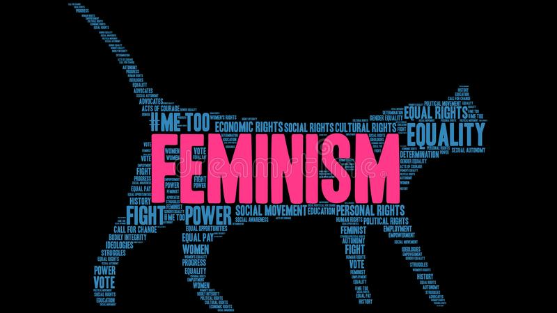 Feminism Word Cloud. On a black background royalty free illustration