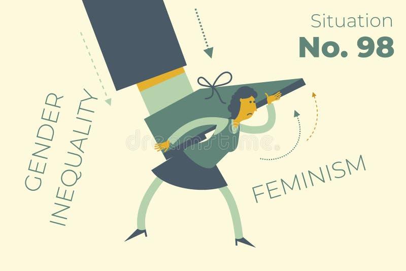 Feminismo Poder das meninas Uma mulher segura a perna de um homem sobre a cabeça Mulher forte luta pelos direitos das mulheres De ilustração royalty free