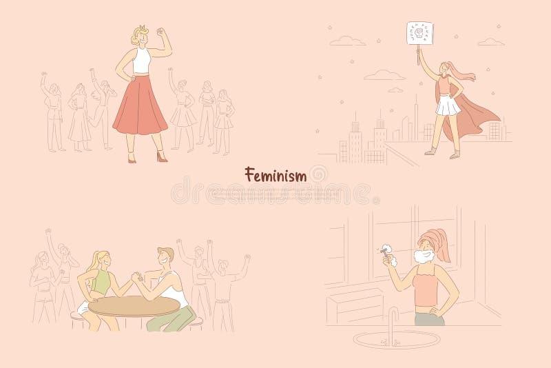 Feminismusaktivisten, die für gleiche Rechte, Feministprotestierender erklären Macht und Gleichheit, Superwomanheldfahne kämpfen stock abbildung