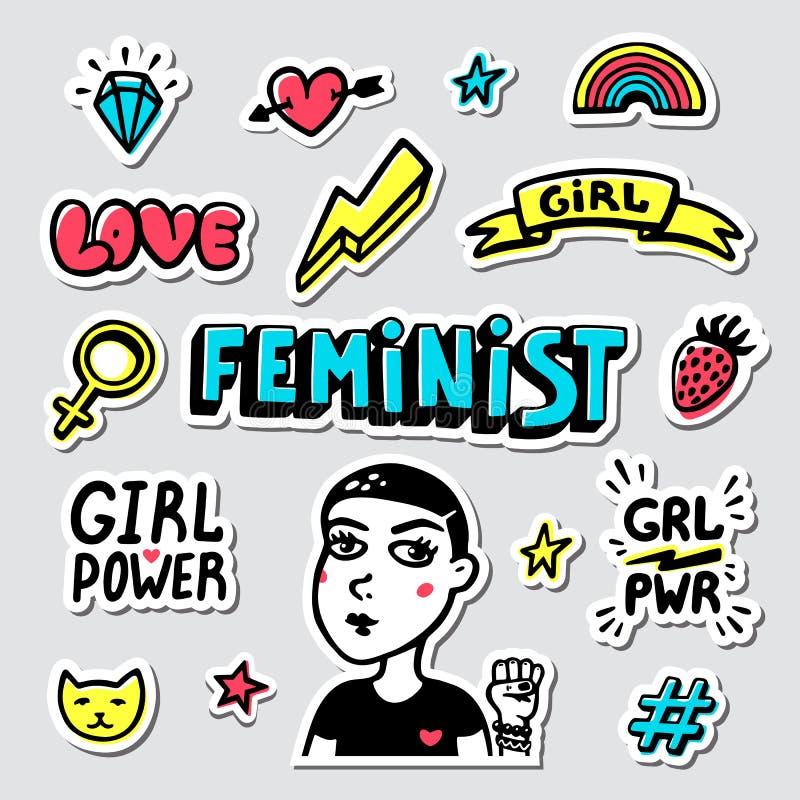 Feminist sticker set. Feminist cute hand drawing illustration for print, brochure, greeting card, bag, clothing. Girl stock illustration