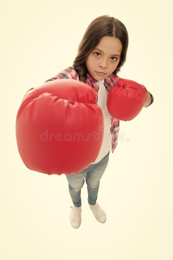 Feminist upbringing and female rights. Fight for her rights. Female rights and liberties. Girl boxing gloves ready to. Fight. Kid strong and independent girl stock photos