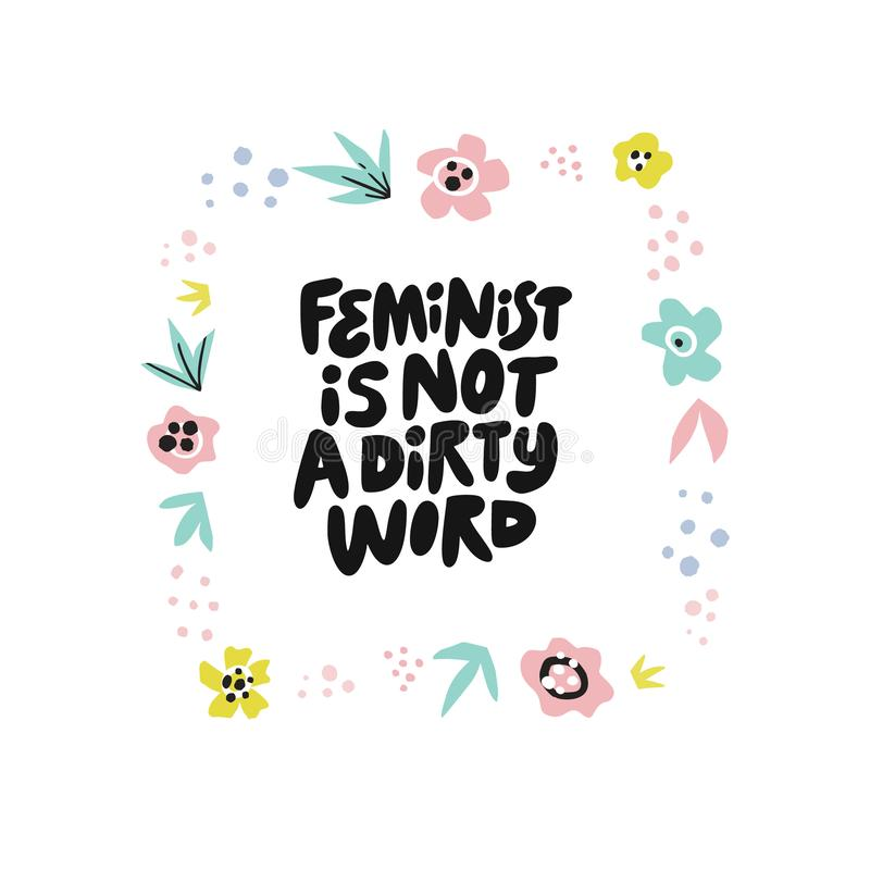Feministen är inte citationstecknet för handen för det smutsiga ordet det utdragna stock illustrationer