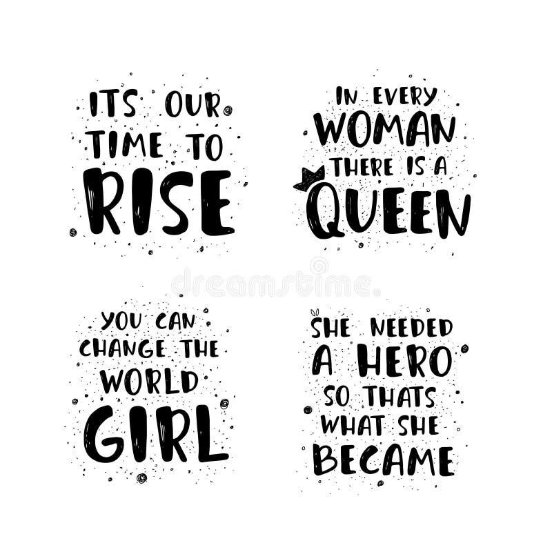 Feministische het van letters voorzien citaten stock illustratie