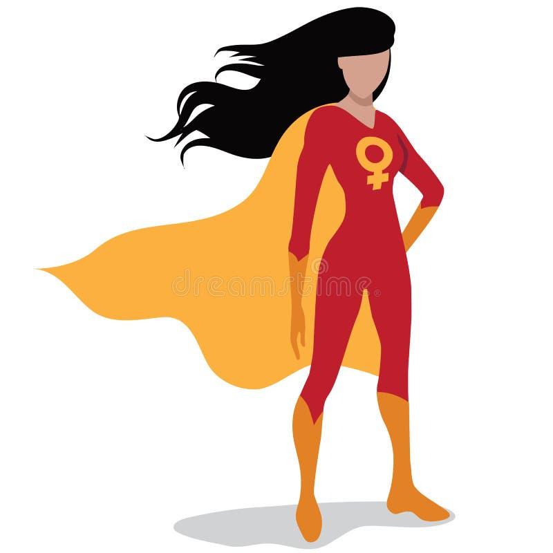 Feministischer Superheld lokalisiert auf Weiß lizenzfreie abbildung