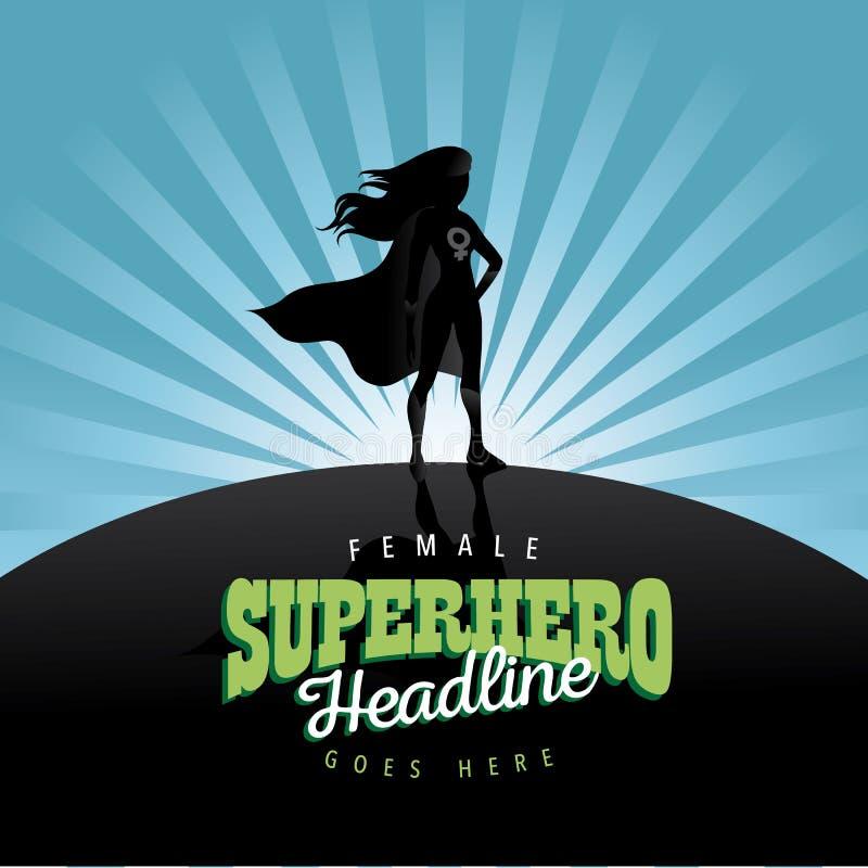 Feministisk bakgrund för superherobristningsannons royaltyfri illustrationer