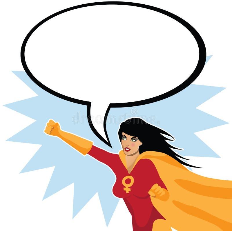 Feministisk superwoman med anförandebubblan royaltyfri illustrationer