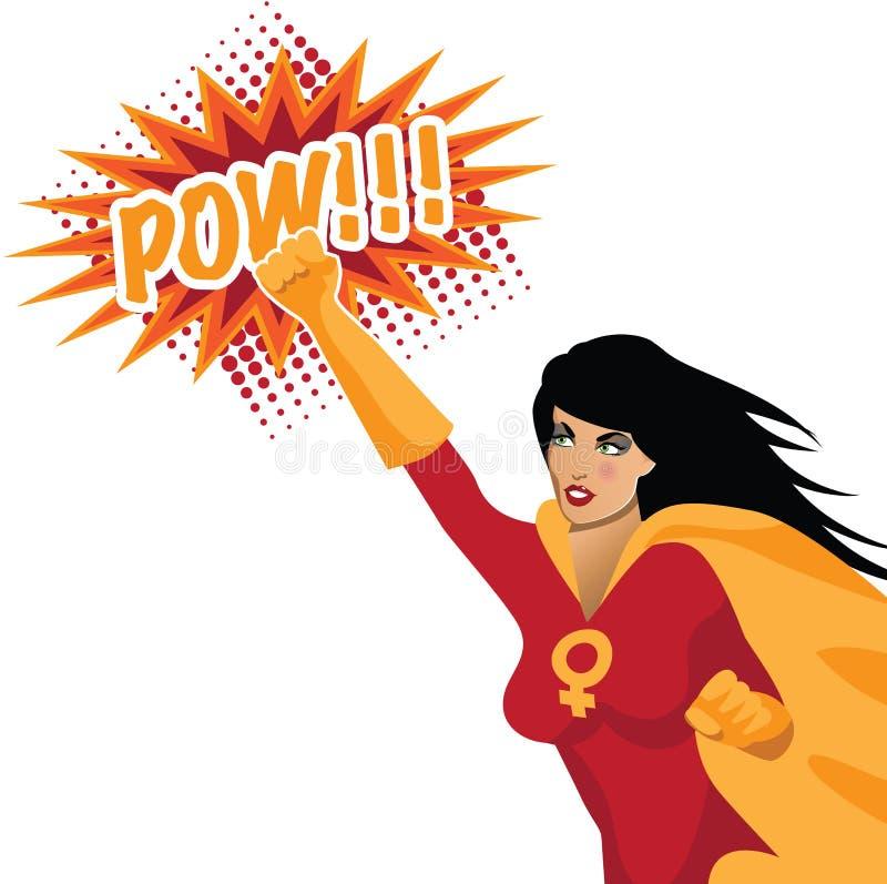 Feministisk superwoman som stansar med POWEN! vektor illustrationer