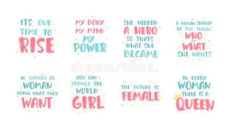 Feministiska bokstävercitationstecken royaltyfri illustrationer