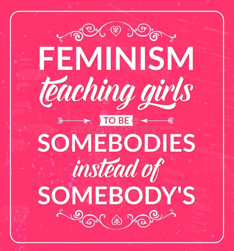 Feministiskt citationstecken: feminismundervisningflickor som är royaltyfri illustrationer