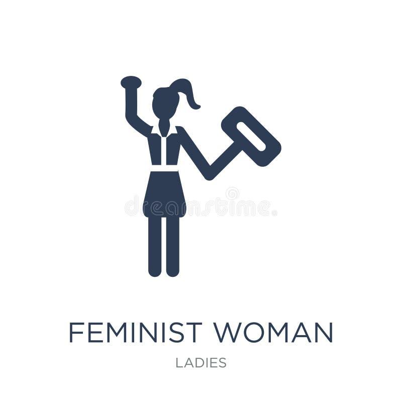 Feministyczna kobiety ikona Modna płaska wektorowa Feministyczna kobiety ikona na w royalty ilustracja