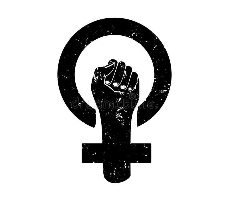 Feminizmu protestacyjny symbol z Grunge teksturą odizolowywającą Kobiety opierają się symbol Czarny i biały wektor royalty ilustracja