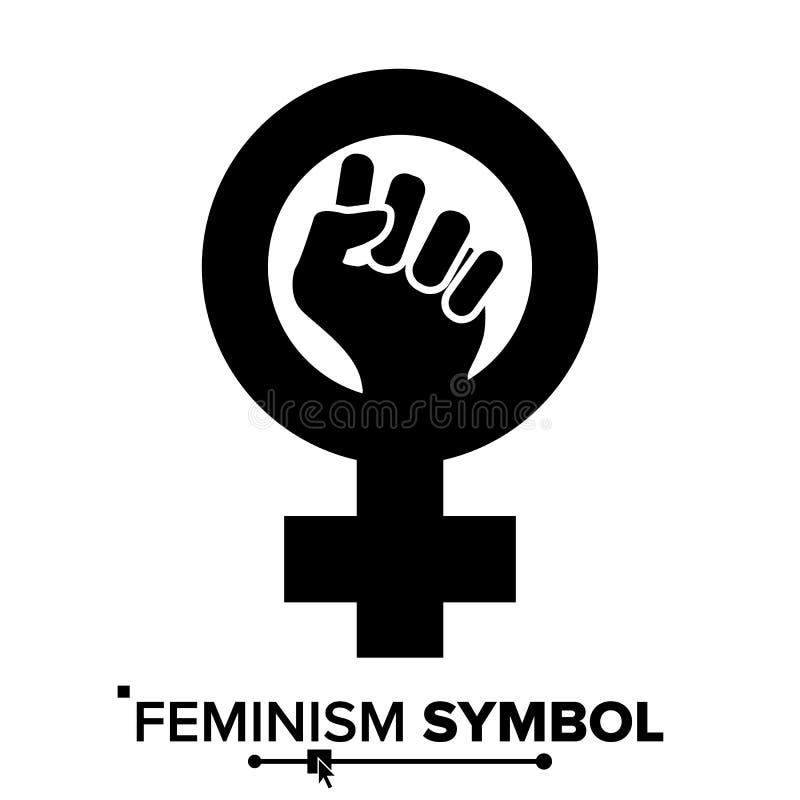 Feminizmu symbolu Protestacyjny wektor Feminizm kobiety rodzaju władza Żeńska ikona Feministyczna ręka Dziewczyn prawicy odosobni ilustracja wektor