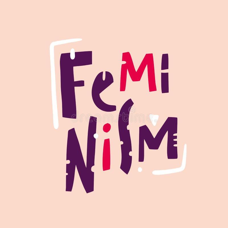 Feminizmu zwrot Feminizmu slogan Ręka rysujący wektorowy literowanie Odizolowywający na różowym tle ilustracja wektor