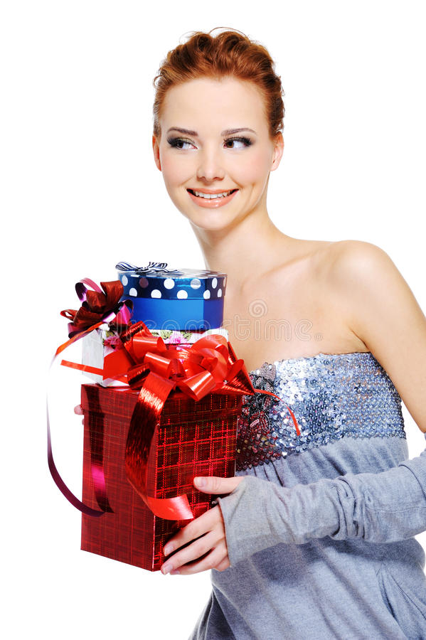 femlae holding the christmas present boxes stock images