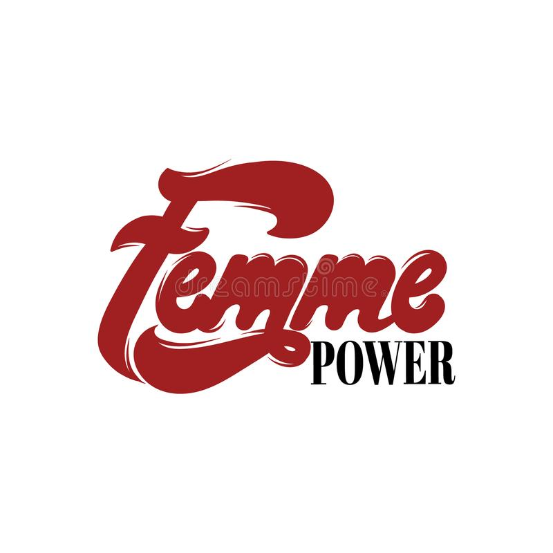 Femme力量 在现代样式做的传染媒介手写的字法 向量例证