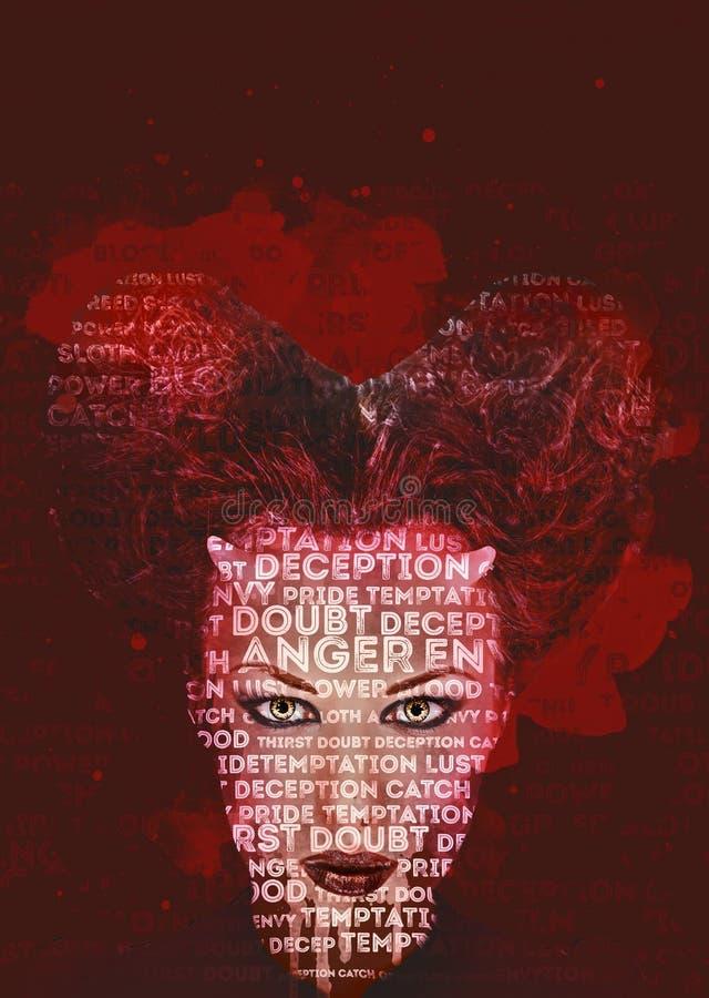 Femme à cornes Pirouette rouge-foncé de Digitals art illustration stock