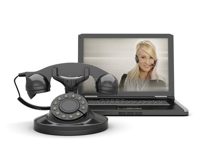 Femme à l'écran d'ordinateur portatif et au vieux téléphone rotatoire photo stock