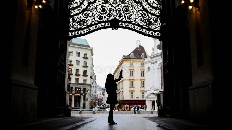 Femme à l'aide de l'instrument dans le hofburg Vienne, silhouette, grande-angulaire images libres de droits