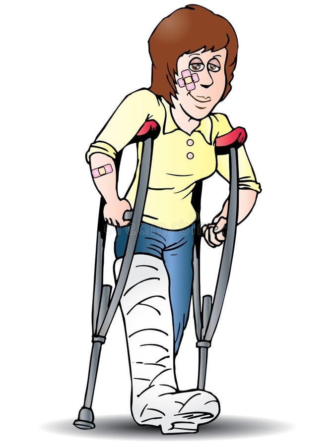 Femme à l'aide de la béquille illustration stock