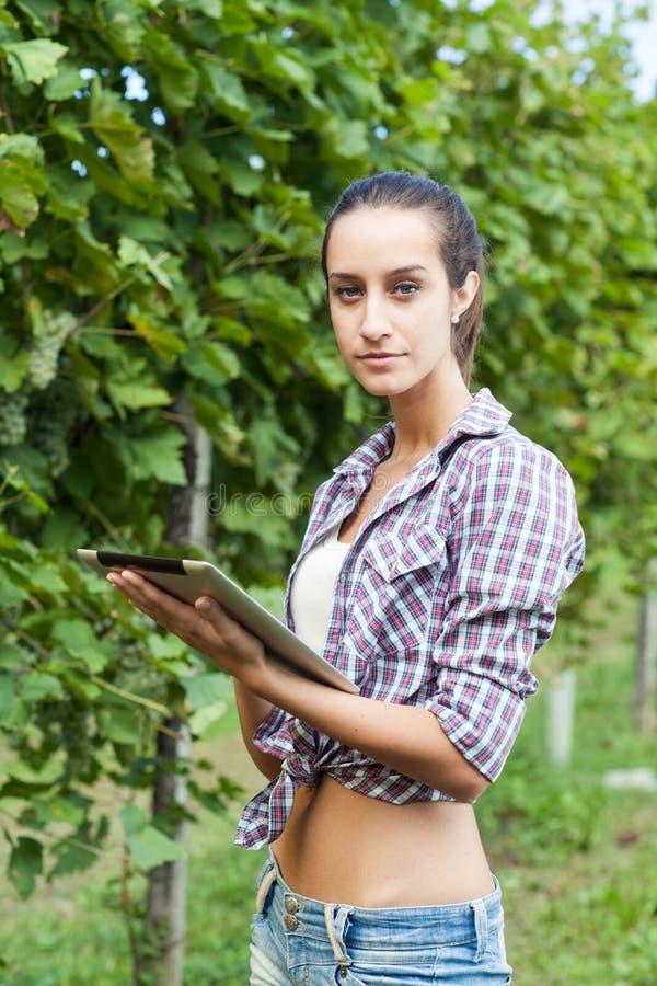 Femme à l'aide de la tablette digitale photo libre de droits