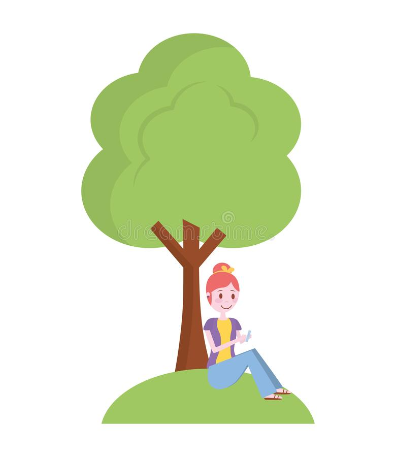 Femme à l'aide du téléphone se reposant dedans sous un arbre illustration libre de droits