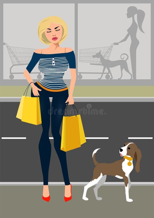 Femme à la mode avec un chien près de la boutique illustration libre de droits