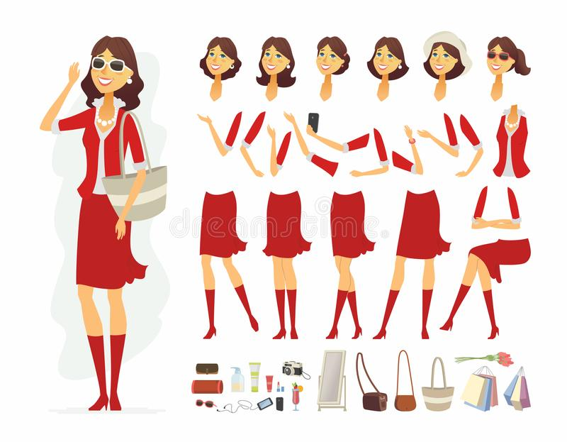 Femme à la mode - dirigez le constructeur de caractère de personnes de bande dessinée illustration de vecteur