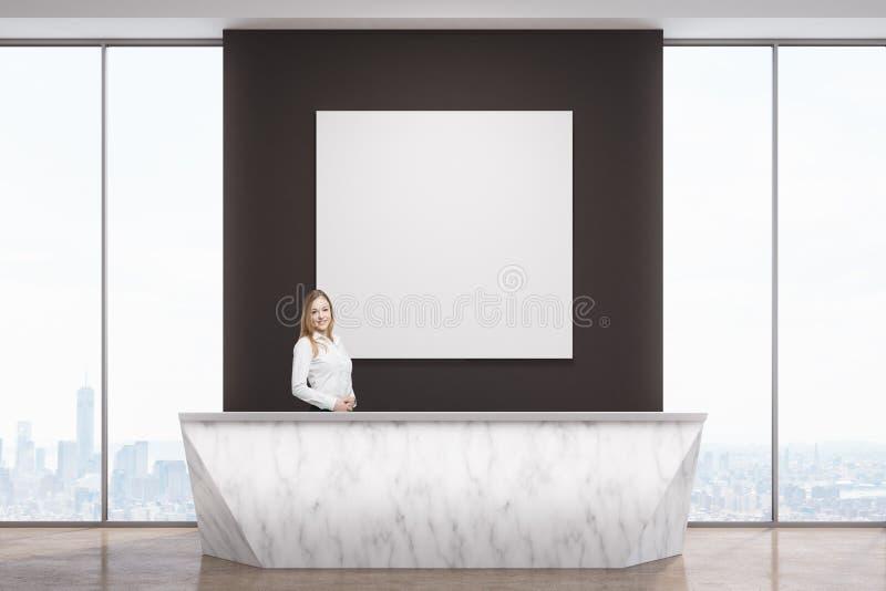 Femme à la réception de marbre illustration de vecteur