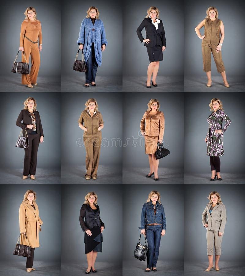 Femme à un âge mûr dans différents vêtements image libre de droits