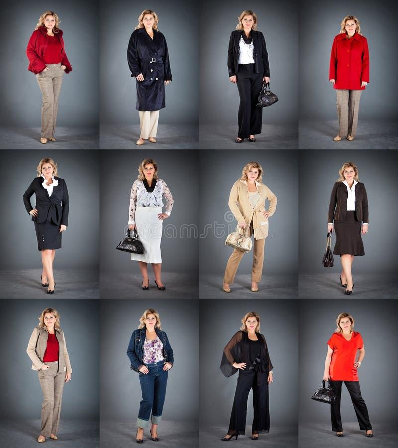 Femme à un âge mûr dans différents vêtements images libres de droits