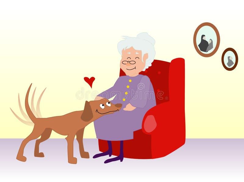 Femme âgée choyant un crabot illustration stock