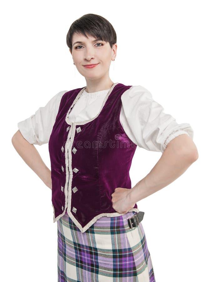 Femme écossaise dans le costume national traditionnel image libre de droits