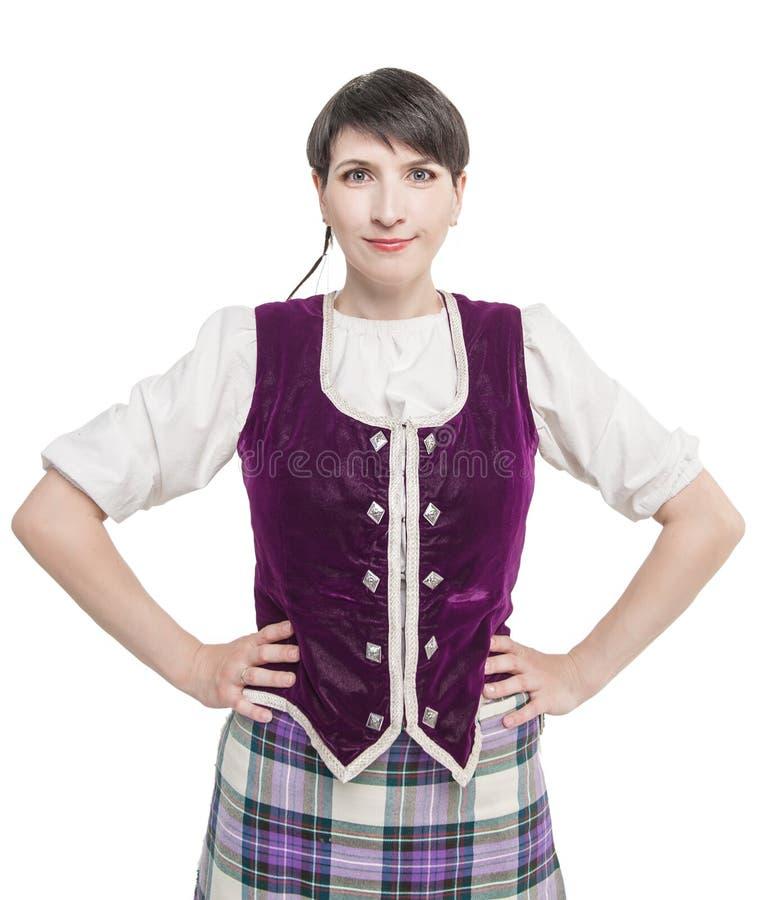 Femme écossaise dans le costume national traditionnel photos libres de droits