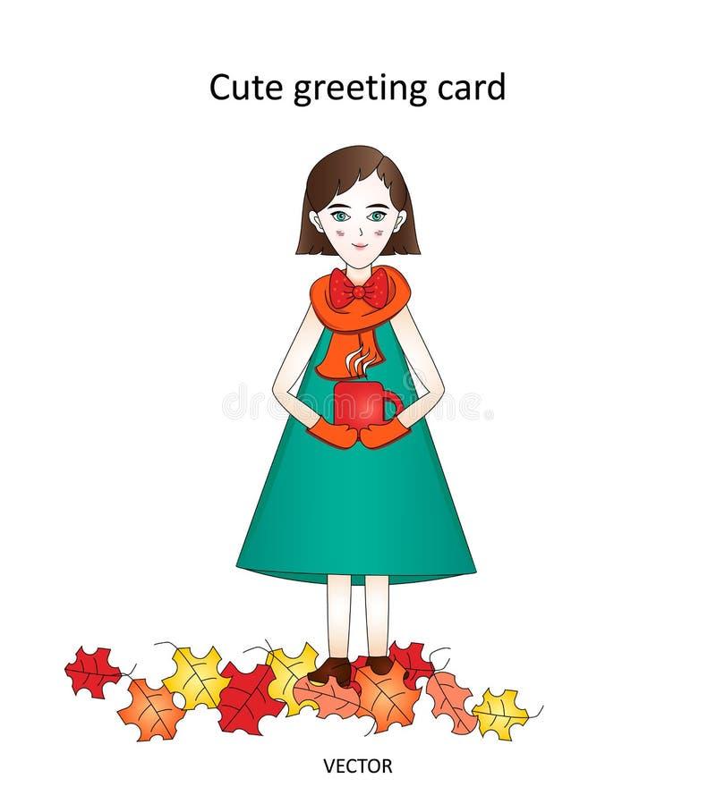 Femme élégante d'automne mignon de carte de voeux avec une tasse de thé et des feuilles sur un fond blanc illustration stock