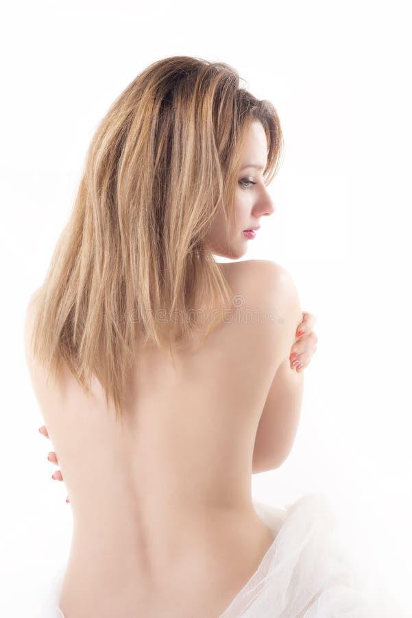 Femme élégante d'isolement avec la serviette blanche photos stock