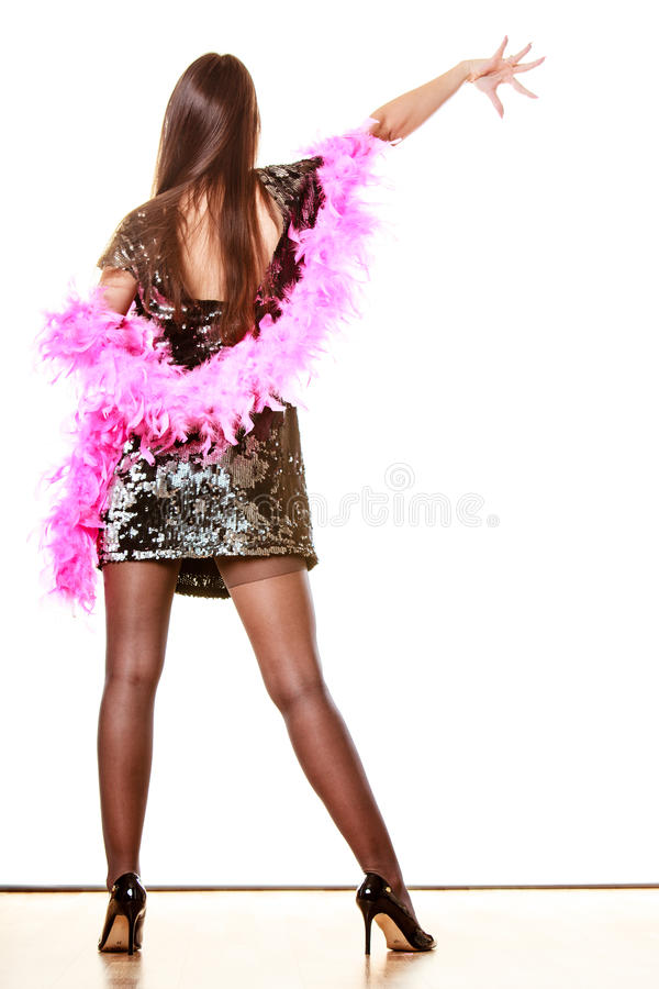 Femme élégante dans la robe de paillette de soirée photos stock