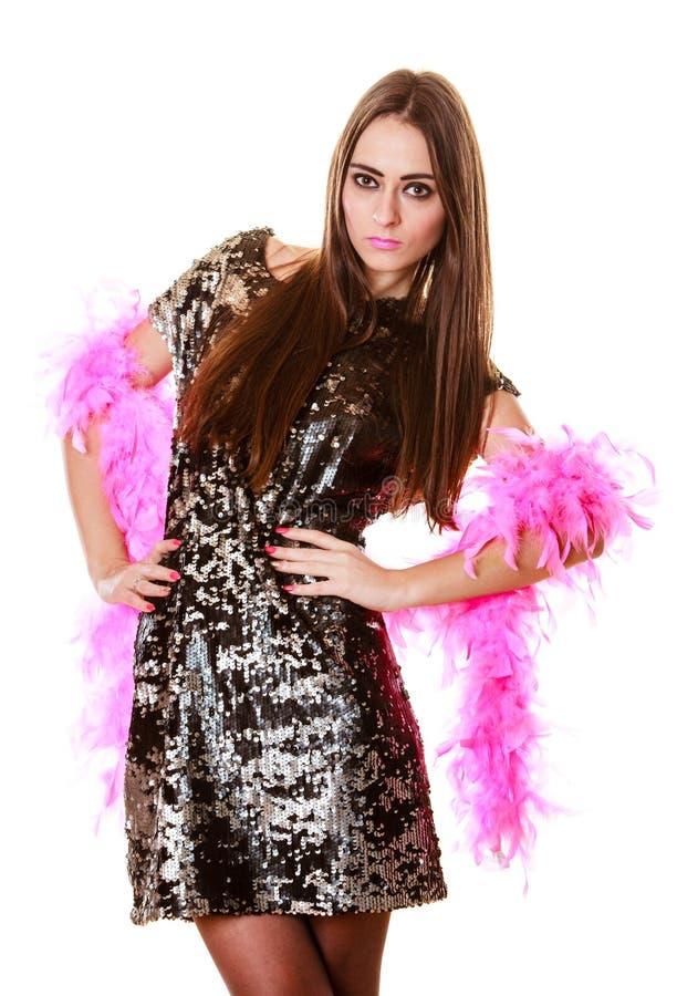 Femme élégante dans la robe de paillette de soirée image stock