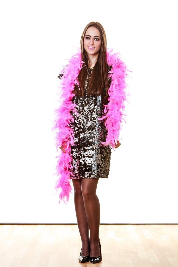 Femme élégante dans la robe de paillette de soirée photo stock
