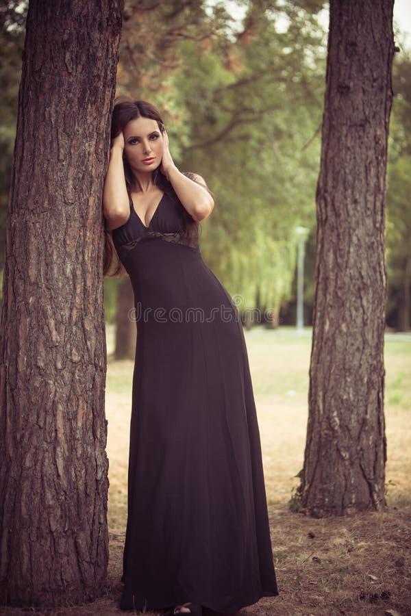 Femme élégante dans le bois photos libres de droits