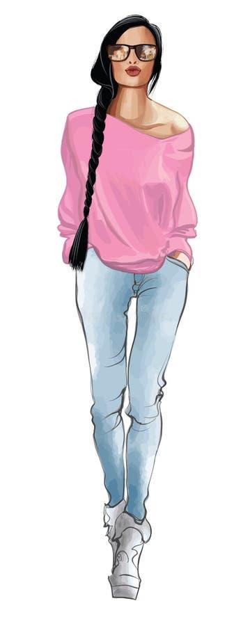 Femme élégante de mannequin dans des jeans illustration libre de droits