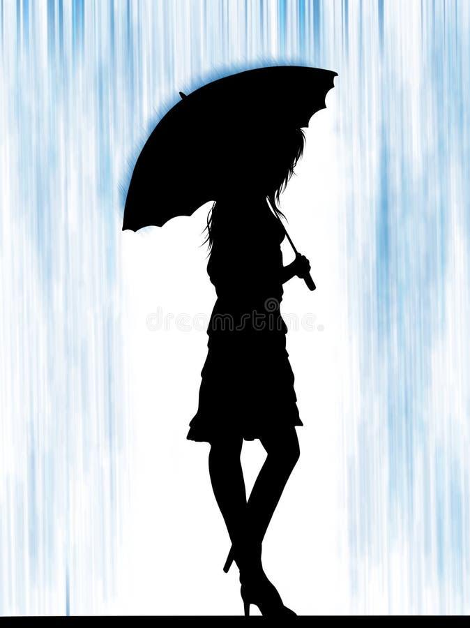 Femme élégante de mode avec le parapluie Fille de mode avec les cheveux blonds croquis Mannequin avec le parapluie illustration de vecteur