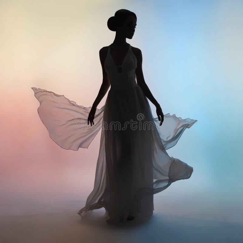 Femme élégante de silhouette dans la robe de soufflement photo stock
