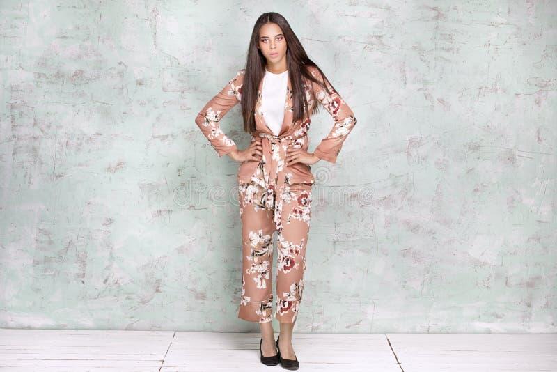 Femme élégante posant dans le studio photographie stock
