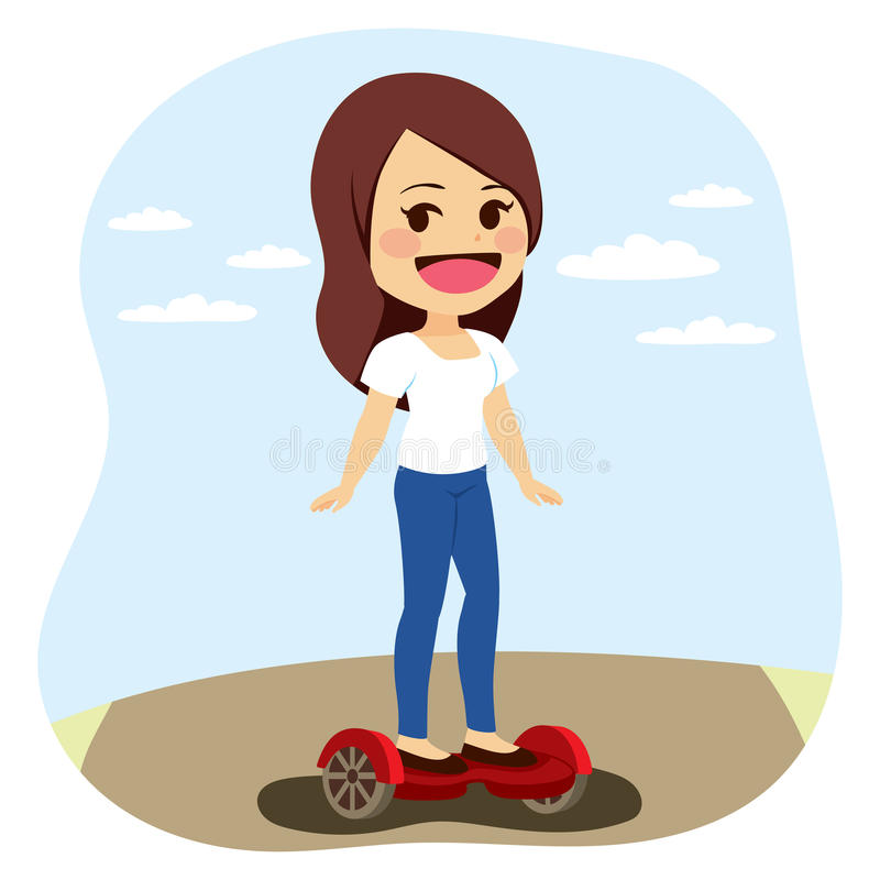 Femme électrique de Auto-équilibrage de scooter illustration libre de droits