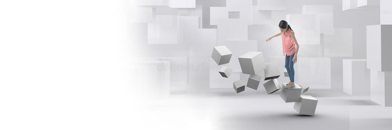 Femme équilibrant sur les cubes surréalistes géométriques images stock